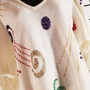 Vintage ivory shapes and sequins sweater